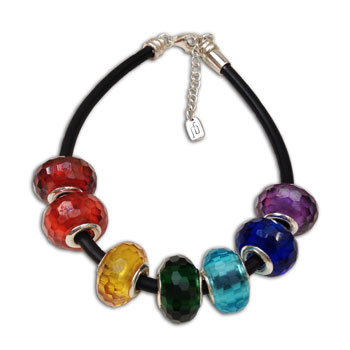 Faceted Chakra Bead Bracelet Sterling Silver & Rubber
