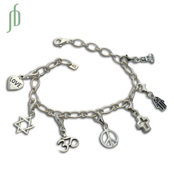 Coexist Charmas Bracelet Sterling Silver Adjustable