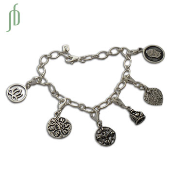 Buddha's Delight Charmas Bracelet Sterling Silver Adjustable
