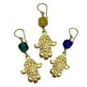 Hamsa Earrings Recycled Glass & Brass