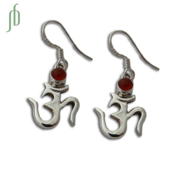 Om Earrings with Stone