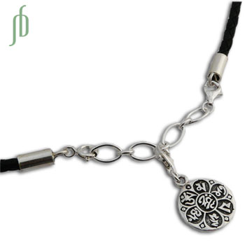Om Mani Padme Hum Leather Charmas Necklace