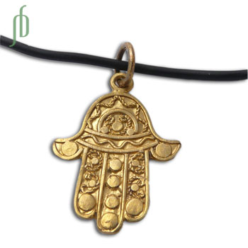 Hamsa Hand of Fatima Rubber Necklace Recycled Brass