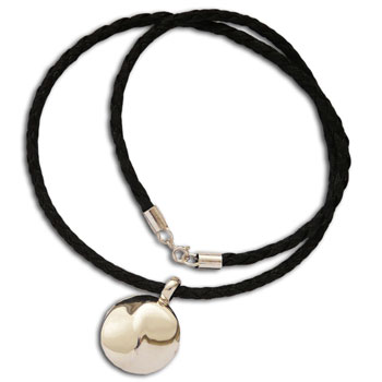 Flowing Yin Yang Necklace Silver & Leather 20