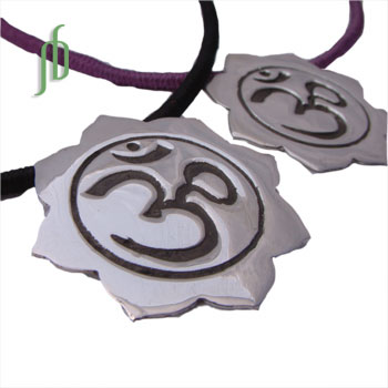 Om Lotus Necklace on Cotton Cord
