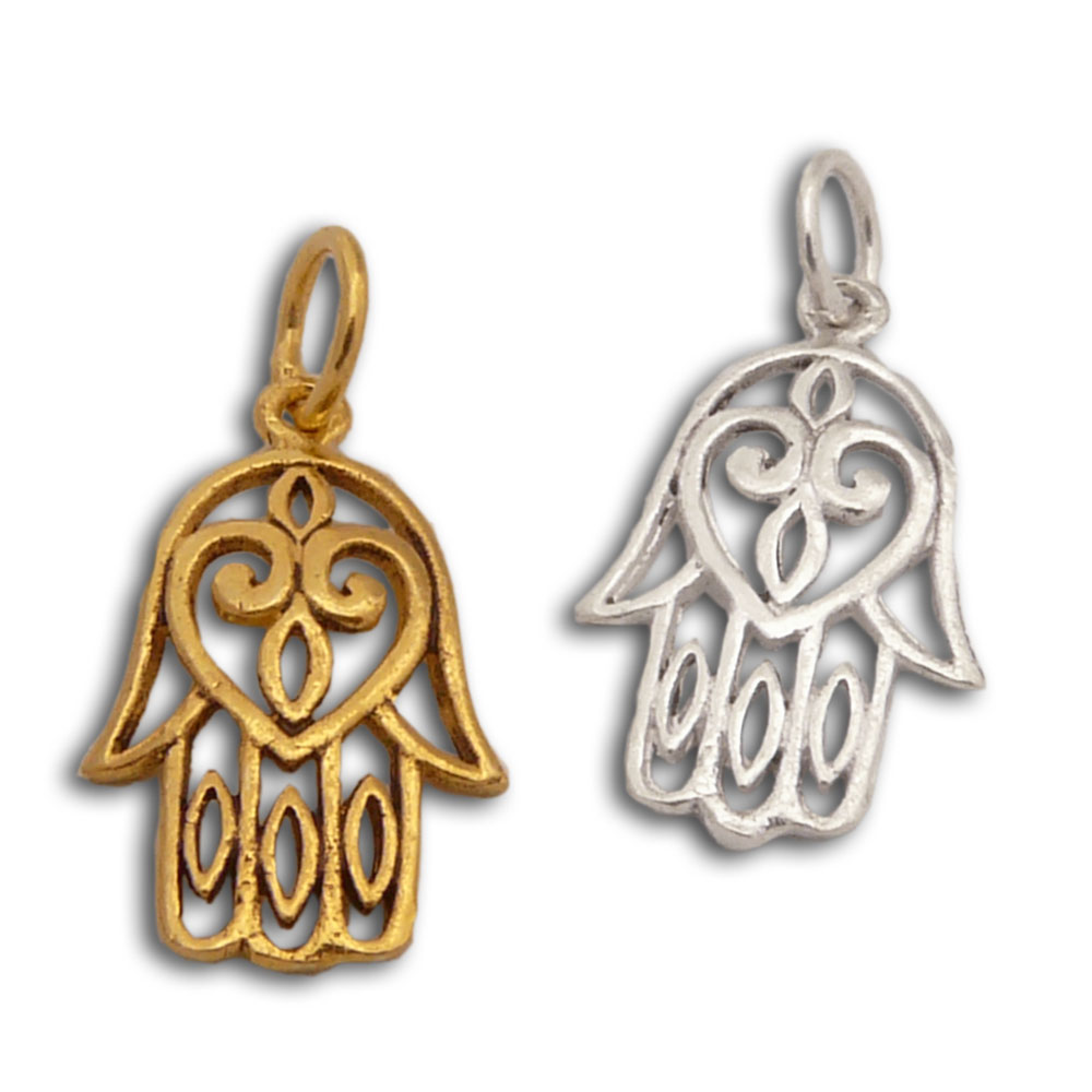 Hamsa charm cut out silver or gold tone meditation jewellery all zoom aloadofball Images