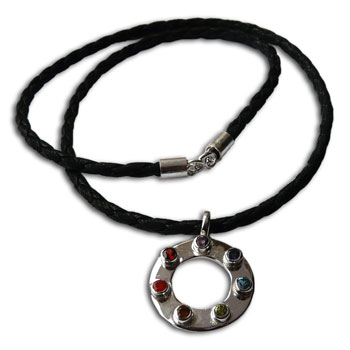 Circle of Happiness Chakra Necklace Silver, Gemstones & Leather 20